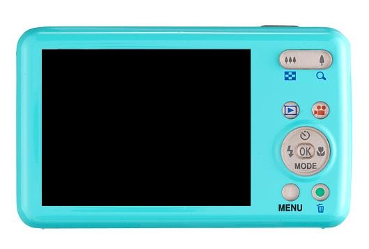 le Pentax Optio S1 bleu de dos