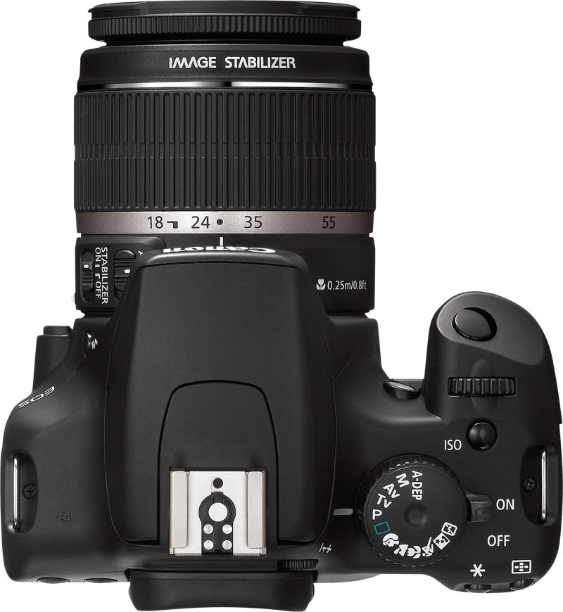 le Canon EOS 1000D de haut