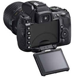 le Nikon D5000 de dos avec écran orienté