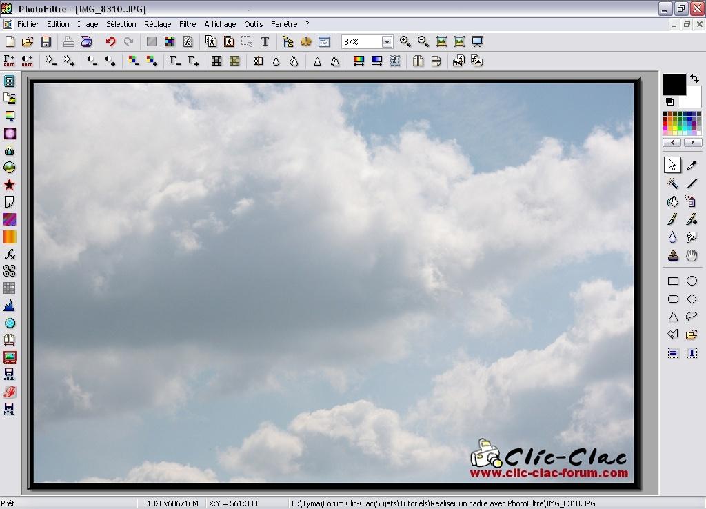 Aperçu de l'effet 3D Relief Simple sur le cadre dans PhotoFiltre