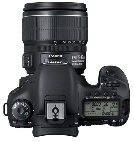 le Canon EOS 7D de haut