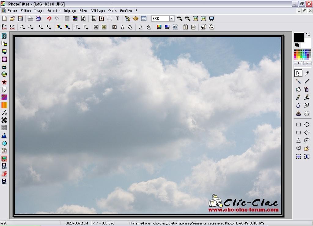 Aperçu de l'effet Bords en relief sur le cadre dans PhotoFiltre