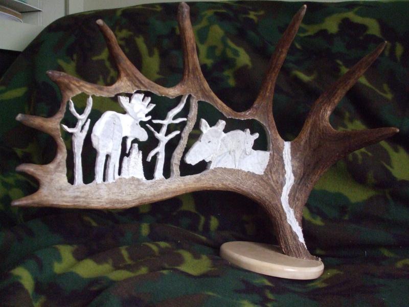 sculpture sur panache d'orignal magnifique souvenir # Sculpture En Bois A Vendre