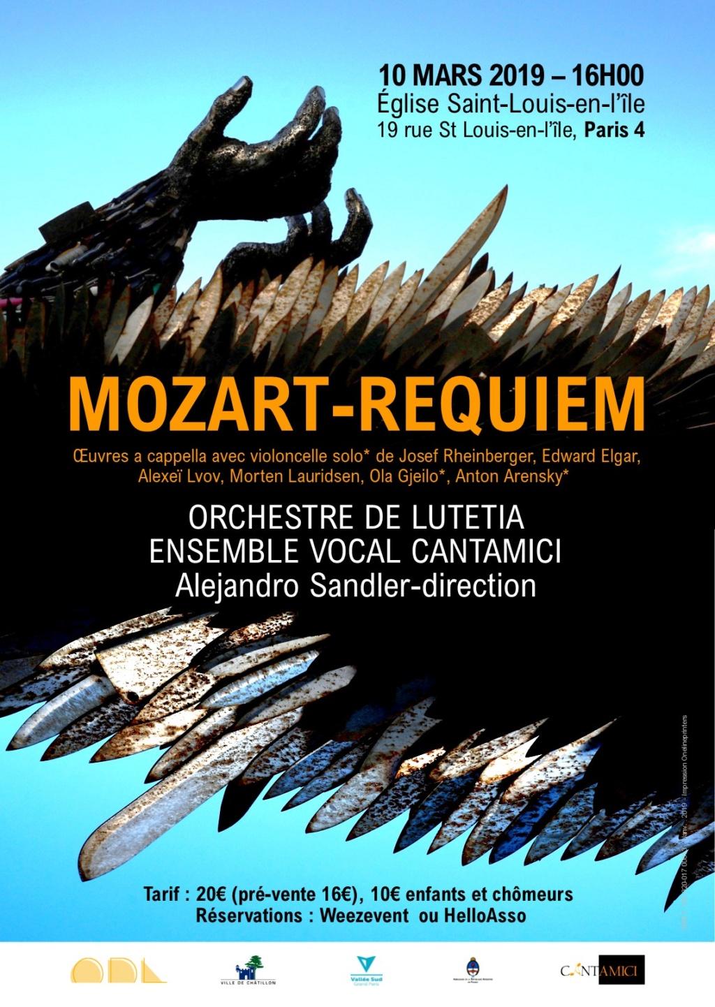 Affiche Requiem Mozart Orchestre de Lutetia mars 2019